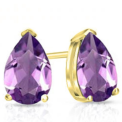 Dazzlingrock Collection 14K 7X5 MM Each Pear Gemstone Ladies Solitaire Stud Earrings, Yellow Gold