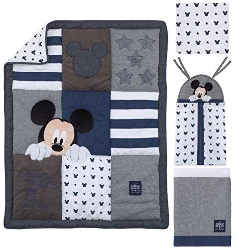 Disney Mickey Mouse 4 Piece Hello World Denim/Star/Icon Nursery Crib Bedding Set, Navy, Grey, White