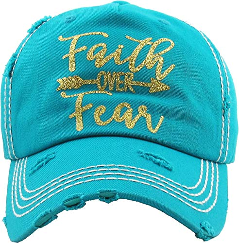 MIRMARU Women's Baseball Cap Distressed Vintage Unconstructed Washed Cotton Embroidered Adjustable Hat (Faith Over Fear, Turquoise)