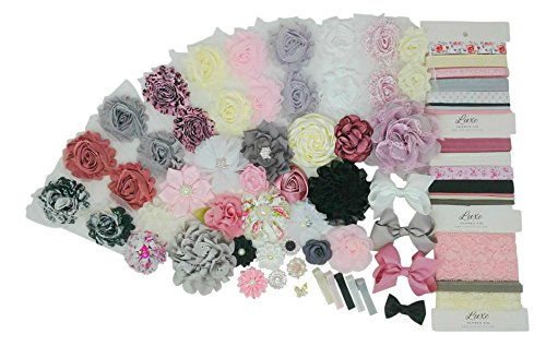 Classic Shabby Chic Collection DIY Headband Kit - Makes 35 Headbands and 5 Clips! - Pink, Ivory, Mauve, Black, White - Mom-to-Be Gift - Baby Shower Activity