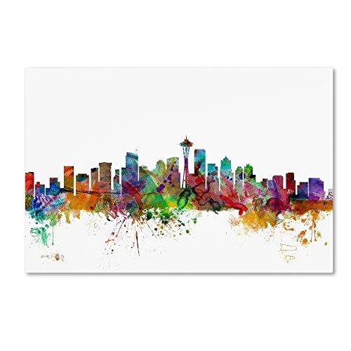 Seattle Washington Skyline by Michael Tompsett, 30×47-Inch Canvas Wall Art