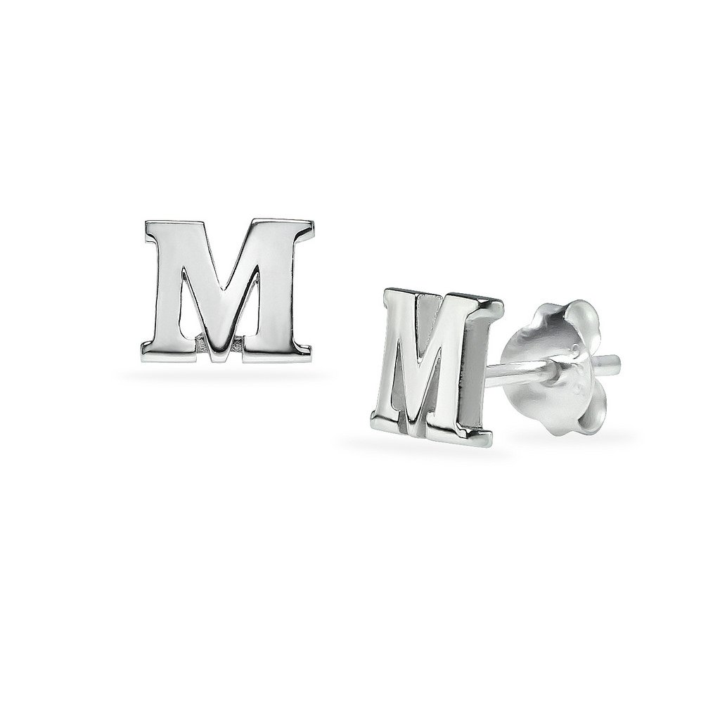 Sterling Silver Alphabet Initial Letter Tiny Earring Studs Letter M