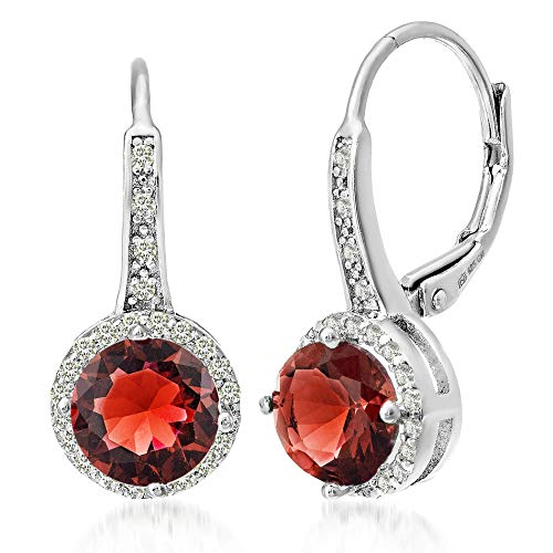MIA SARINE Simulated Ruby and Cubic Zirconia Halo Leverback Dangle Bridal Gift Earrings for Women for in Rhodium Plated Sterling Silver -