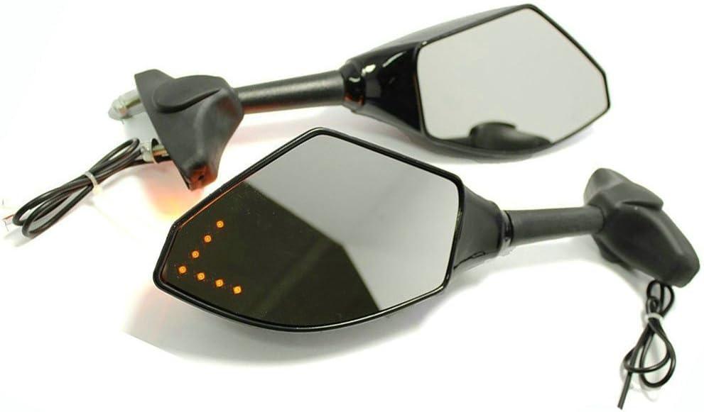 Clear Len Black FAZER8 FZ8S 2010-2011 FJR1300 2001-2011 Yibid Motorcycle Integrated Mirrors with Arrow LED Turn Signal Light for Yamaha FZ6 FZ6S FAZER 2004 2005 2006 2007 2008 2009 2010 2011