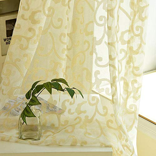 Pureaqu Golden Silk Luxury Window Curtain for Living Room Rod Pocket Process 1 Panel