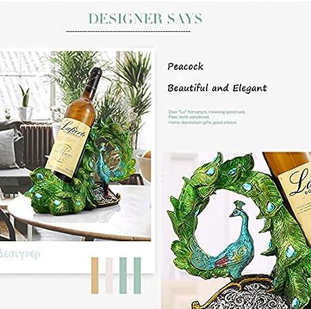 Creativo estante de vino de pavo real decoración para bar, cocina o encimera, botella de champán, mejor bellamente regalos de inauguración de la casa a otros