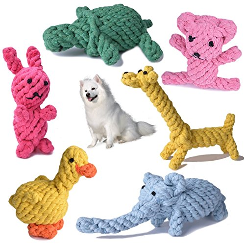 Barkawaytoys Rope Dog Toy- Chew on Toy for Pets- Tight Braided Animal Shaped Toys- Set of 6 Cute Animal Toys- Colorful Training Toys for Dogs- Great for Indoors and Outdoors by Barkawaytoys