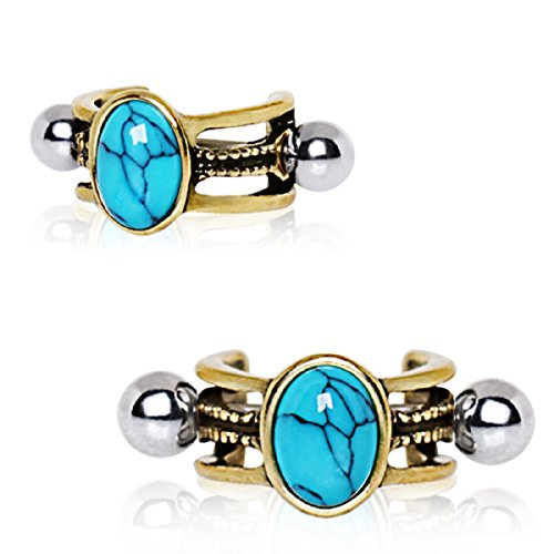 Cartilage Cuff (Antique Gold Cartilage Ear Cuff with Oval Turquoise Stone 16G (Sold by Piece))
