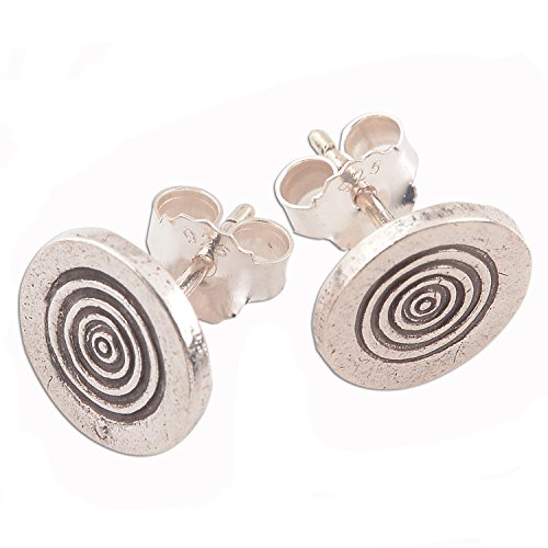 Circle Earrings Pure Silver Karen Hill Tribe Handmade (Circle Hill Tribe Silver)