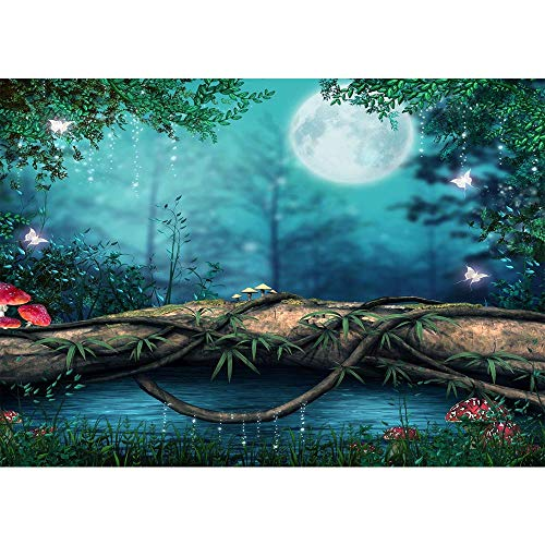Photo Backdrop Moonlight Enchanted Forest Background 12x10ft Green Tree Arch Red Mushoom Wooden Silver Butterfly Photography Backdrop Lake Pictures for Infant Picture Newborn Photo Studio Backdrops -