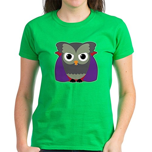 Truly Teague Women's Dark T-Shirt Spooky Little Owl Vampire Monster - Kelly Green, Medium -