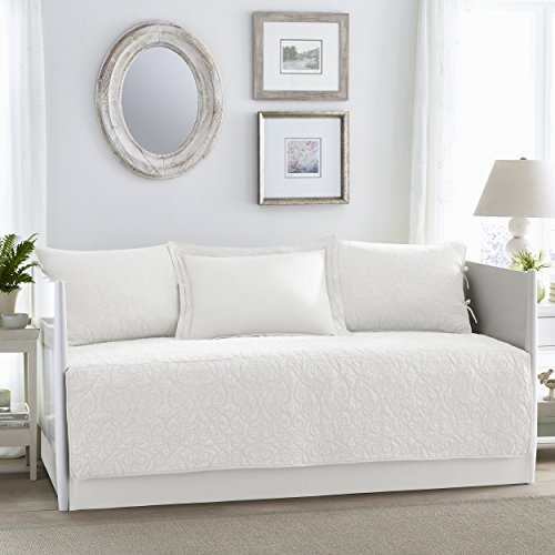 Laura Ashley Felicity 5-Piece Daybed Cover Set, Twin, White