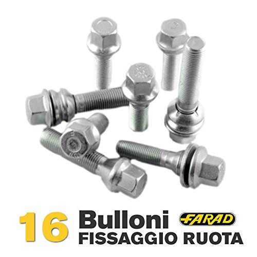 Kit 16 bulloni ruota Citroen Saxo C3 Xsara C5 Berlingo C2 C4 C6 C3 DS3 DS4 DS5 dal 2003 in poi ruote cerchi in lega Farad CAR PASSION
