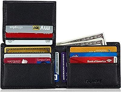 KALMORE Men's Genuine Leather RFID Blocking Flip-ID Window Travel Bifold Wallet - in Gift Box