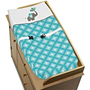 Sweet Jojo Designs Turquoise White and Gray Mod Elephant Baby Girl or Boy Changing Pad Cover