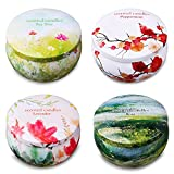 Ahyiyou Scented Candles, 100% Soy Wax Tin Candles, Natural Fragrance Candles for Stress Relief and Aromatherapy - 4 Pack Gift Set (Lavender, Rose, Tea Tree and Peppermint)
