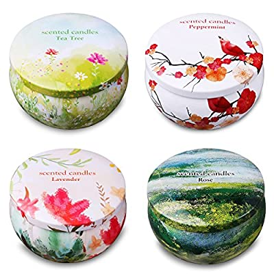 Ahyiyou Scented Candles, 100% Soy Wax Tin Candles, Natural Fragrance Candles for Stress Relief and Aromatherapy - 4 Pack Gift Set (Lavender, Rose, Tea Tree, Peppermint) - 4 FRAGRANCE CANDLE KIT: Scented candles gift set with 4 pack, which includes 4 Fragrances- Lavender, Rose, Tea Tree and Peppermint. All are natural, charming and the most popular scents. PREMIUM SOY CANDLE SET: Aromatherapy candle gift set are made with naturally pure soy wax. It means healthier, clean burning, and longer lasting. High quality soy wax and a cotton wick produce no black smoke when lit. RELIEF & RELAXATION: Each scented soy candle is 2.5 oz,15 - 20 hours burning time, providing aromatherapy, creating mood enhancing atmospheres, relief and relaxation for you and guests. - living-room-decor, living-room, candles - 51hmuyn mZL. SS400  -