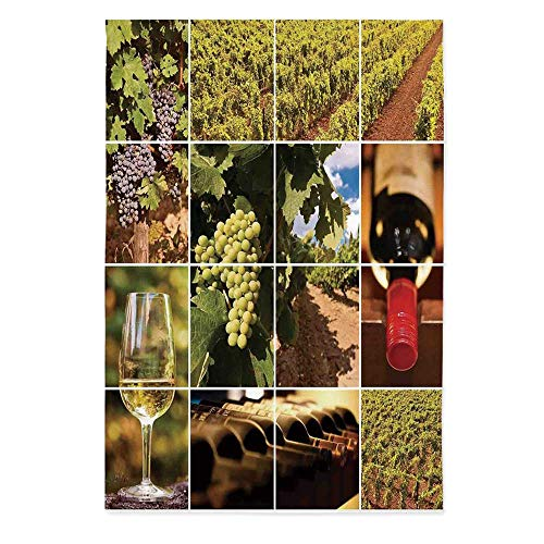 60' Rectangle Glass - TecBillion Vineyard Printed Tablecloth,Vineyard Landscapes Purple Grapes French Bottle Glass Rustic Cellar Couples for Rectangle Table Kitchen Dinning Party,60''W X 84''L
