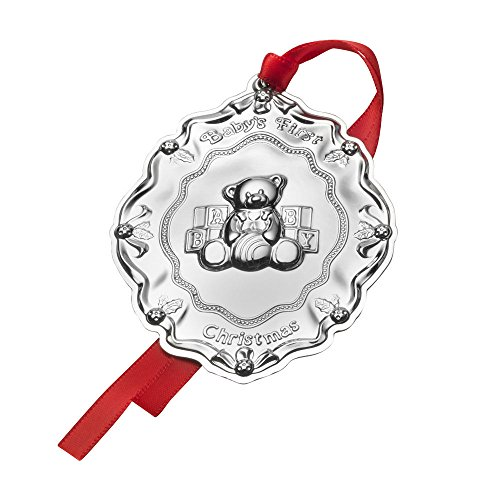 Towle Baby's First Christmas Teddy Bear with Blocks Sterling Holiday Ornament, Silver