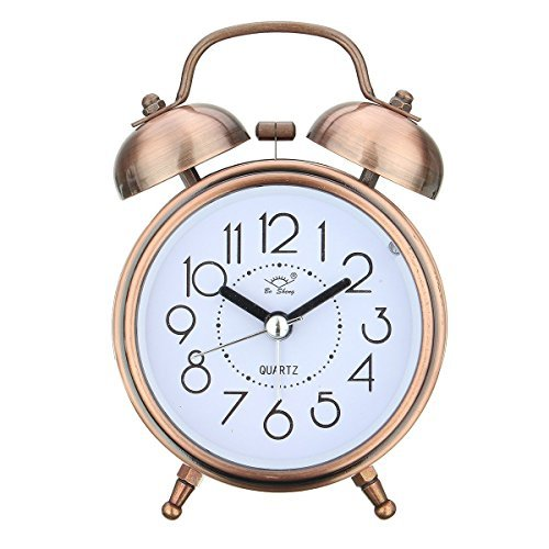 nt Alarm Clock Loud Twin Bell Mute Alarm Clock Quartz Analog Retro Bedside and Desk Clock with Nightlight,Copper (Mechanical Copper Clock)