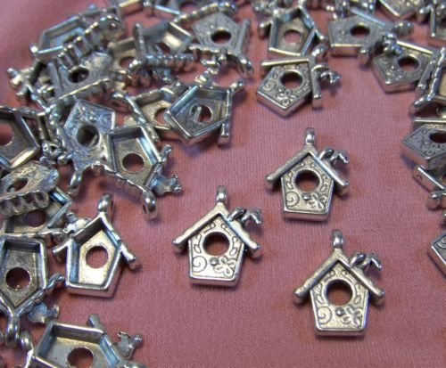 SILVER BIRDHOUSES-GAR Jewelry Making Supply Charms Wholesale by (Antique Store Birdhouse)