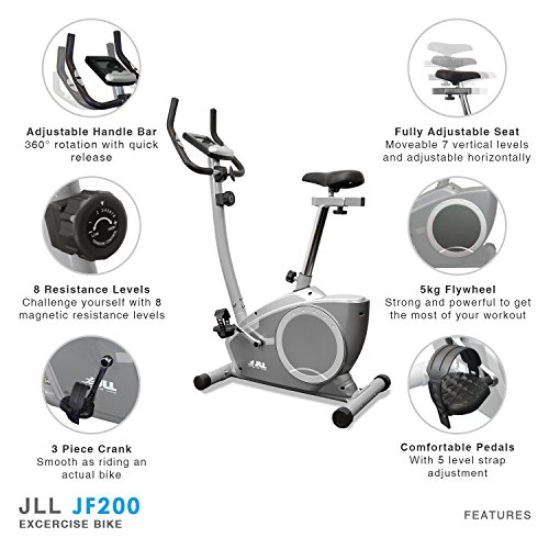 JLL® Home Exercise Bike JF200, 2016 New Magnetic resistance exercise bike  fitness Cardio workout with adjustable resistance, 5KG two ways fly wheel,