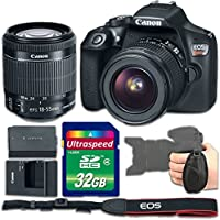 Canon EOS Rebel T6 DSLR Camera Bundle with Canon EF-S 18-55mm f/3.5-5.6 IS II Lens + 32gb Memory SD Card + Grip Strap - International Version (No Warranty)