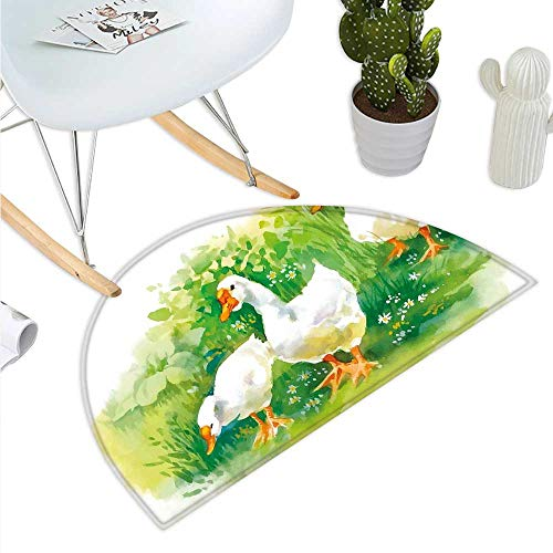 Rubber Duck Half Round Door mats Goose in Farm Lake Plants Grass Reeds Flowers Pond Animals Geese Feathers Bathroom Mat H 15.7