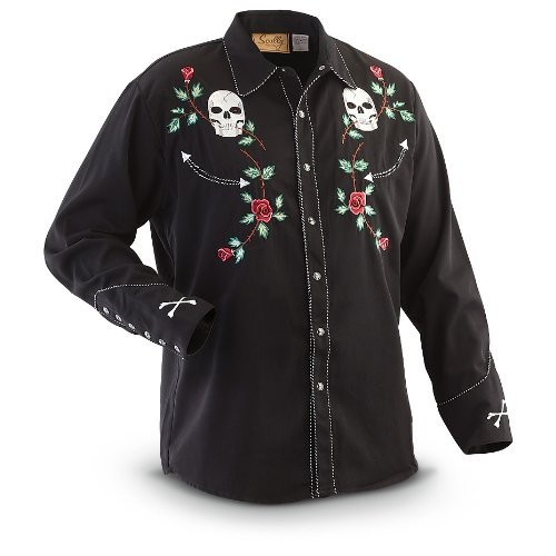 Scully Men's Skull and Roses Embroidered Retro Western Shirt Black X-Large from Scully