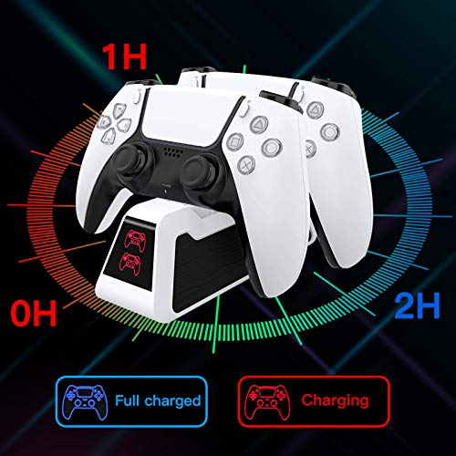 PS5 Controller Dual Charging Station, PS5 DualSense Controller Charger, Fast Charging Dock Compatible with Sony Playstation 5, USB Type C PS5 Charger Stand with LED Indicator, White