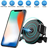 Fast Wireless Car Charger with Air Vent Phone Holder, Qi Certified, 7.5W Compatible iPhone XR/XS Max/XS/X/8/8 Plus, 10W for Galaxy S9/S9+/S8/S8+/LG G7, and 5W for All Qi-Enabled Phones