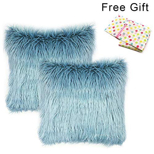 West Bay Faux Fur Throw Pillow Covers,Set of 2 Christmas Home Decorative Super Soft Natural Plush Decorative Cushion Cases for Bed Sofa Bedroom Car(18 x 18 inches,Fur - Pack Case Bed
