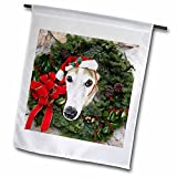 3dRose Sandy Mertens Christmas Animals – Christmas Wreath with a Greyhound Dog with Santa Hat in the Middle – 18 x 27 inch Garden Flag (fl_269520_2)