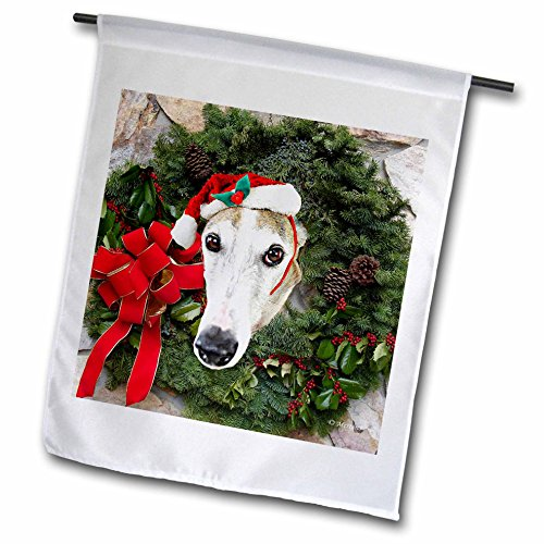 3dRose Sandy Mertens Christmas Animals - Christmas Wreath with a Greyhound Dog with Santa Hat in the Middle - 18 x 27 inch Garden Flag (fl_269520_2)