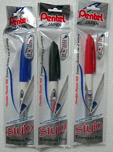 New Original Set of 3 Pentel Japan Stylo Fountain Pen Blue, Red & Black - India Photo #3