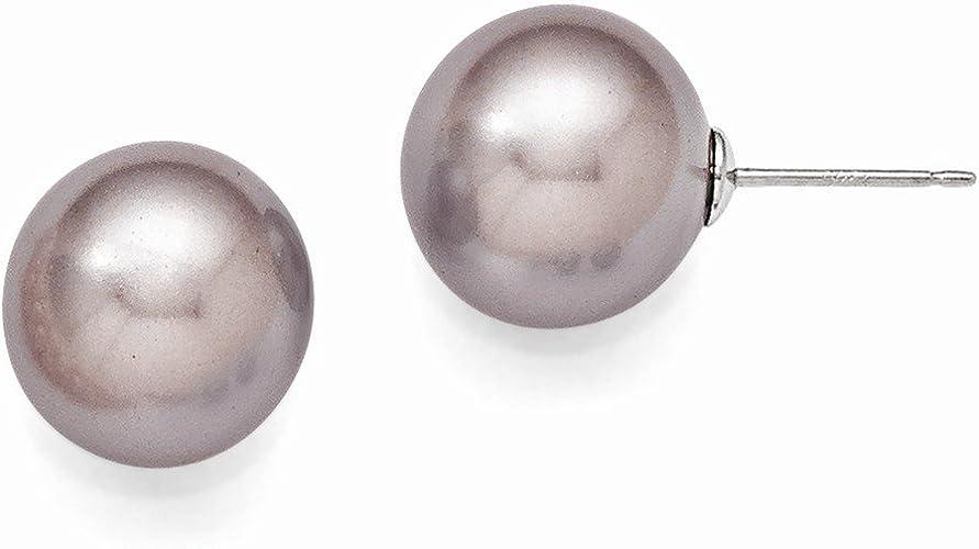Sterling Silver Majestik 10-11mm Yellow Shell Pearl CZ Post Earrings Solid Ball Earrings Jewelry