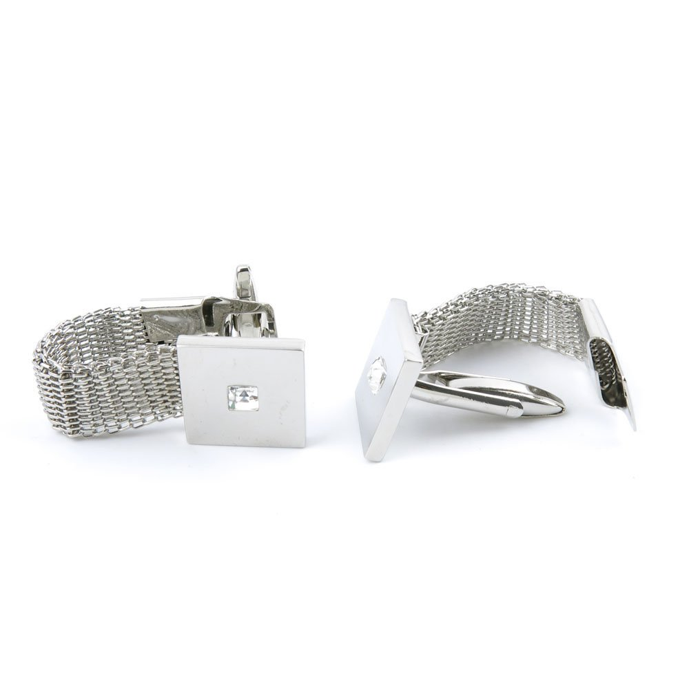 Cufflinks Cuff Links 05809 Silver Chain Crystal Mens Vintage Gift for Tuxedo Shirts Wedding Party