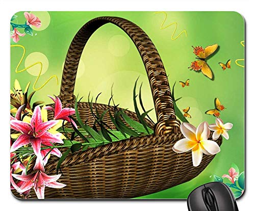 Arrangement Basket Lily (Mouse Pad - Basket of Flowers Flower Arrangement Lilies)