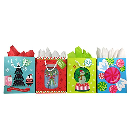 Premium Christmas Gift Bags with Tissue Paper, Large