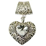 1set Jewelry Scarf Tube Buckle with Antique Rhinestone Heart Pendant Necklace Charm Scarf
