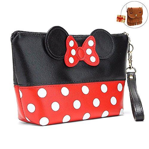 Bags us Handbag Wrist Bag Bowknot Dots Travel Makeup Bag with Zipper CuteMouse (Halloween Makeup Zipper)