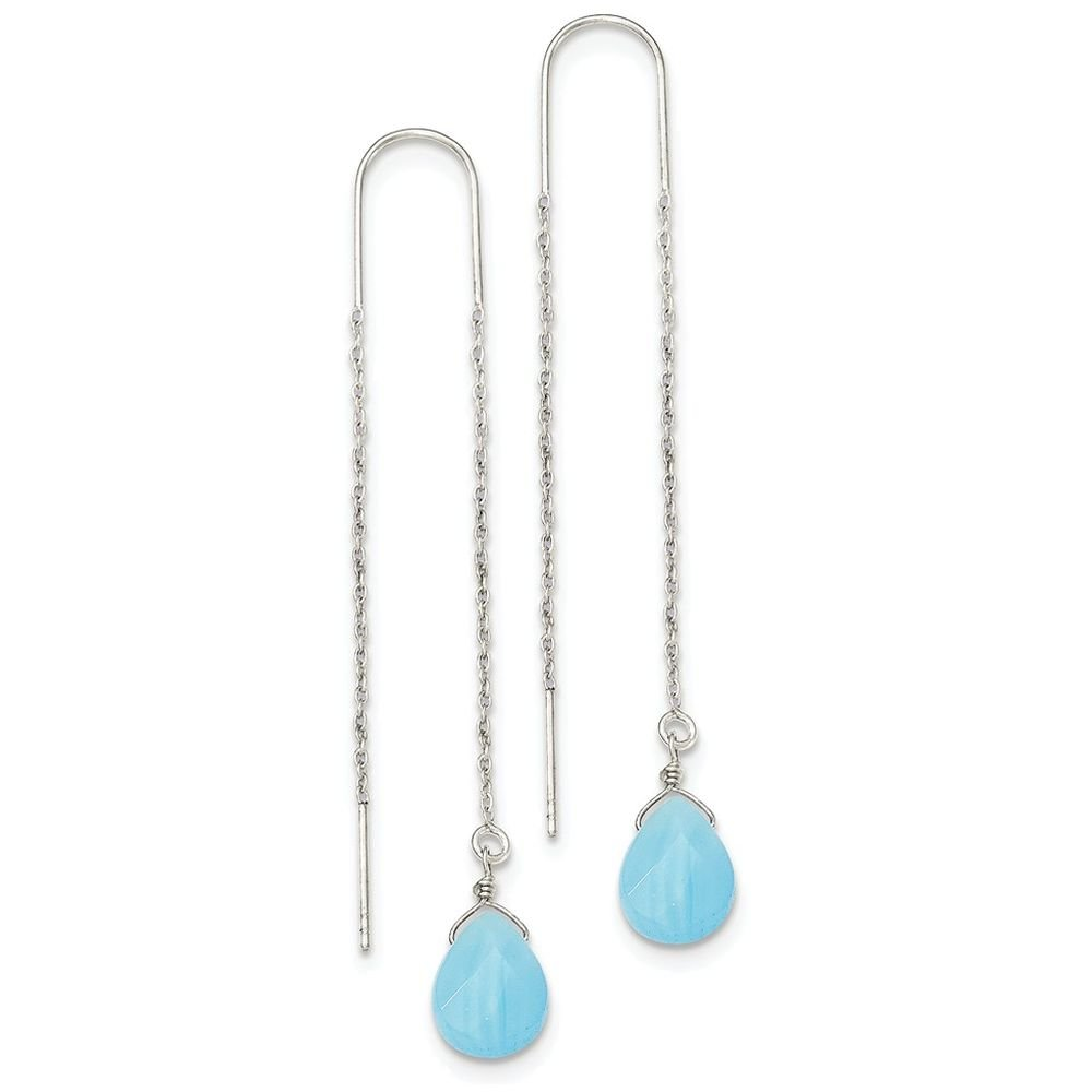 Finejewelers Sterling Silver Blue Agate Threader Earrings