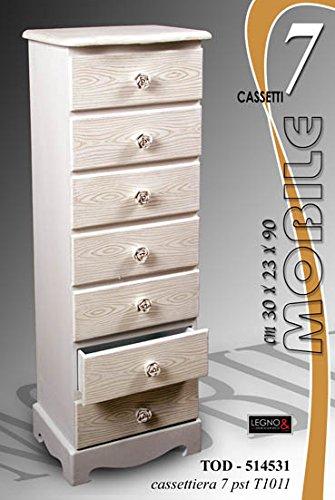 Cassettiera mobiletto settimino arredamento casa in legno shabby ...