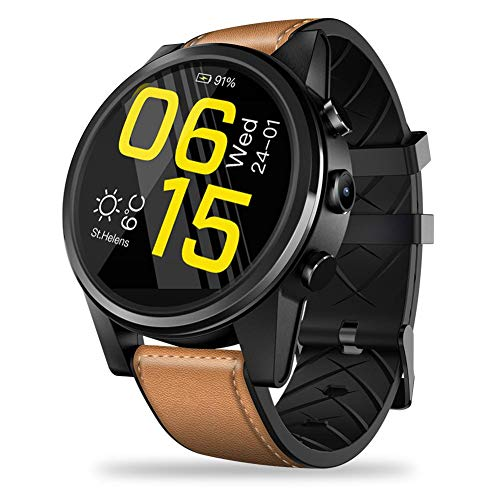 Rundaotong-US 4G SmartWatch, Zeblaze Thor 4 PRO,1.6 Inch Crystal Display GPS/GLONASS Quad Core 16GB 600mAh Hybrid Leather Straps Smart Watch with 5.0MP Camera for iOS/Android