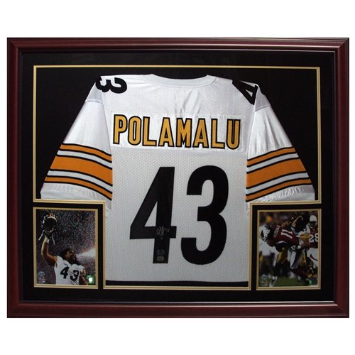 Troy Polamalu Autographed Pittsburgh Steelers (White #43) Deluxe Framed Jersey - Polamalu Holo (Jersey Polamalu 43 Troy)