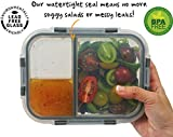 [3-Pack] 3 Compartment Bento Boxes Glass Food Container with Complementary Maria Emmerich Keto Cookbook Sample - Leak Proof for Soup and Portion Control - Keto Diet