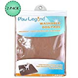 Paw Legend Reusable Dog Pee Pads (2 Pack) of 30″x32″ – Washable Dog Training Pads, Large Travel Pad for Pets(1 Brown & 1 Tan)