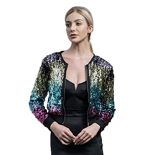 ONIEZZFOIR Rainbow Sparkly Sequin Loose Cover Up Long Sleeve Open Front Cardigan Coat Dress for Women's Clubwear(Jacket,M)