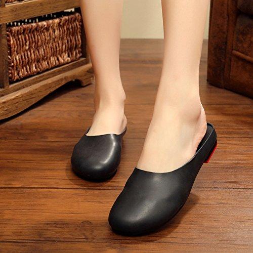 Baotou Femme Nouveau Pour 40 Rétro Pantoufles beige Fond Main Guang 39 Chaussures À Plat Femmes Original Xing La Été Black Littéraire wqEfYx8RC