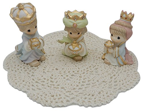 [Precious Moments Nativity Scene with Westbraid Doily (We Three Kings, Small)] (We Three Kings Costumes)